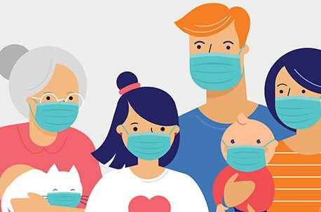 Family wearing protective face masks