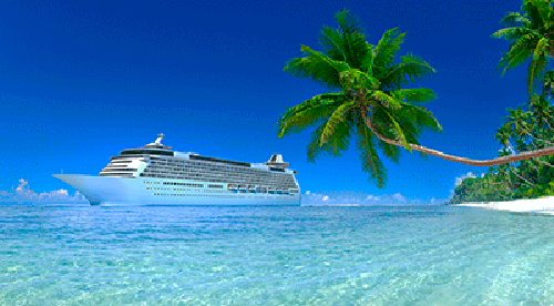 Cruise ship in the ocean