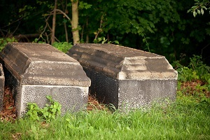 Two vaults sitting in a cemetery.